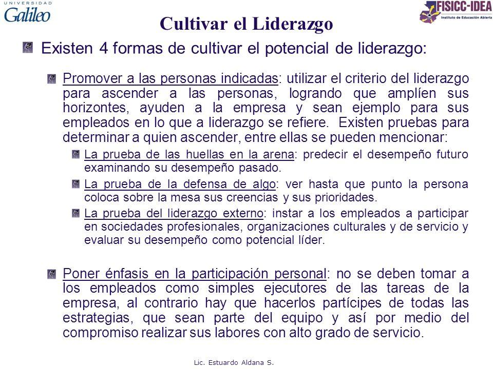 Cultivar el Liderazgo Existen 4 formas de cultivar el potencial de liderazgo: Promover a las personas indicadas: utilizar el criterio del liderazgo pa