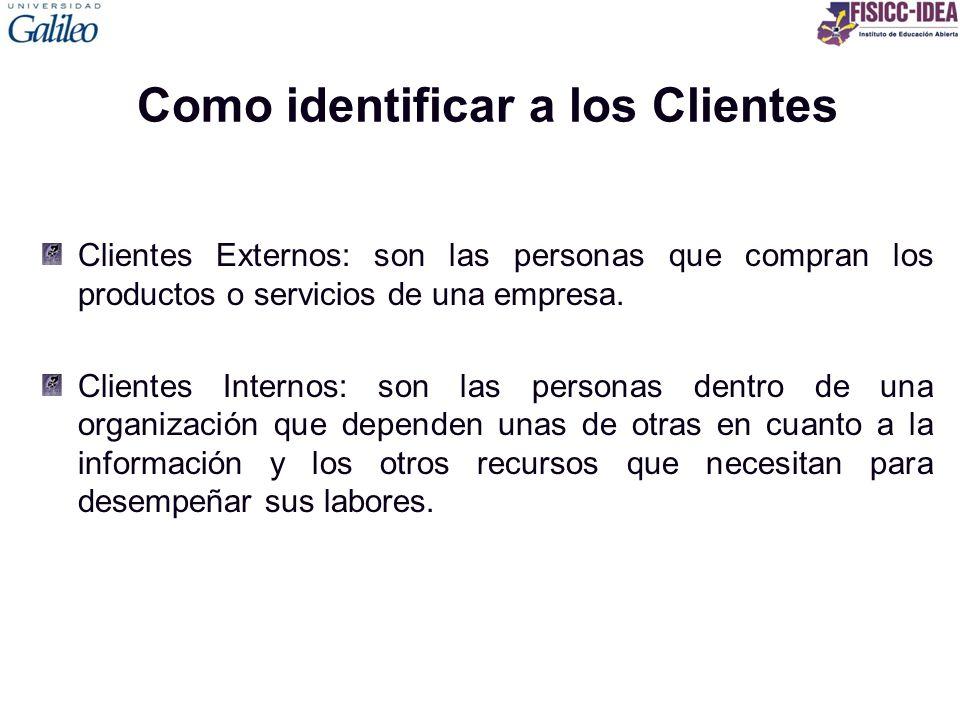 Como identificar a los Clientes Clientes Externos: son las personas que compran los productos o servicios de una empresa. Clientes Internos: son las p