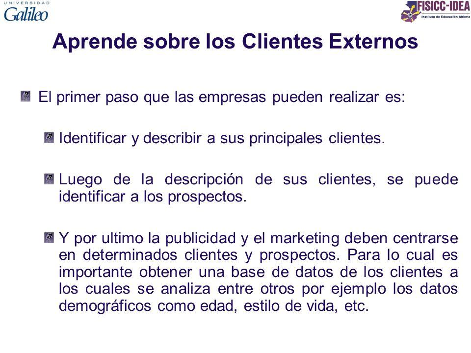 Aprende sobre los Clientes Externos El primer paso que las empresas pueden realizar es: Identificar y describir a sus principales clientes. Luego de l