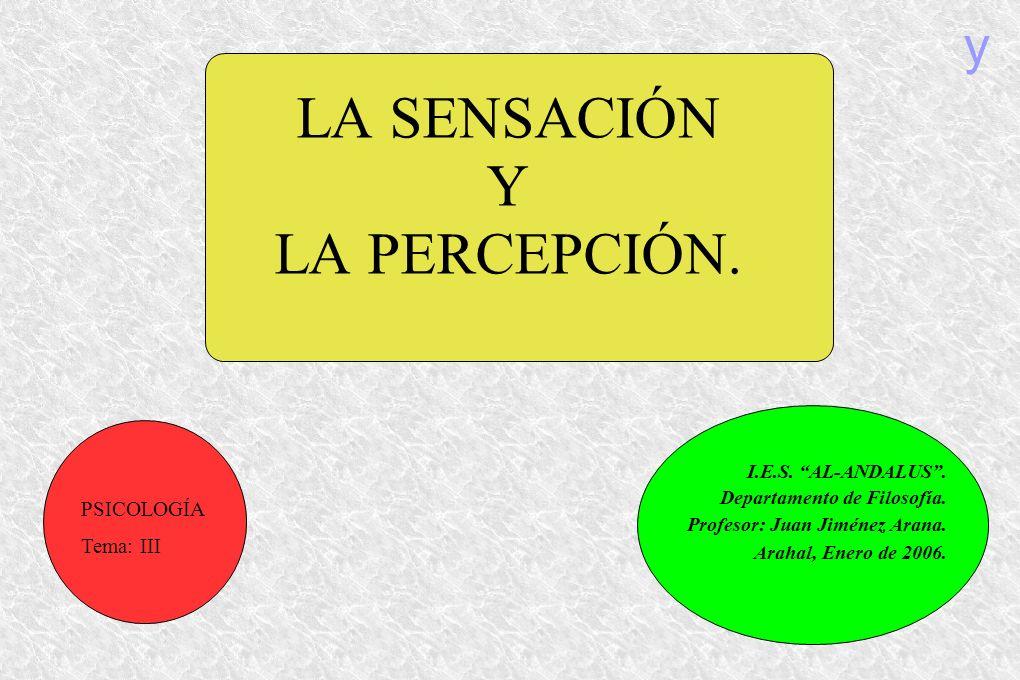 LA SENSACIÓN Y LA PERCEPCIÓN. I.E.S. AL-ANDALUS. Departamento de Filosofía. Profesor: Juan Jiménez Arana. Arahal, Enero de 2006. PSICOLOGÍA Tema: III