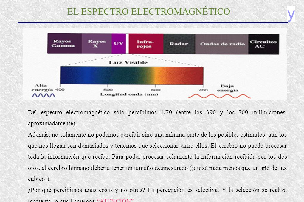 y EL ESPECTRO ELECTROMAGNÉTICO Del espectro electromagnético sólo percibimos 1/70 (entre los 390 y los 700 milimicrones, aproximadamente). Además, no