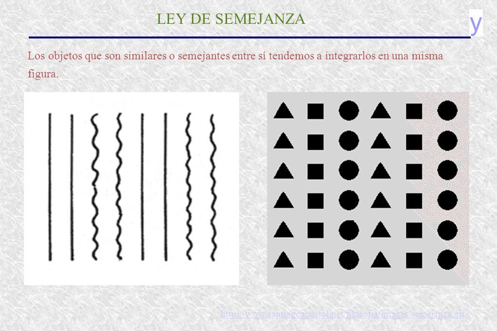 y LEY DE SEMEJANZA Los objetos que son similares o semejantes entre sí tendemos a integrarlos en una misma figura. http://www.santiagoapostol.net/filo