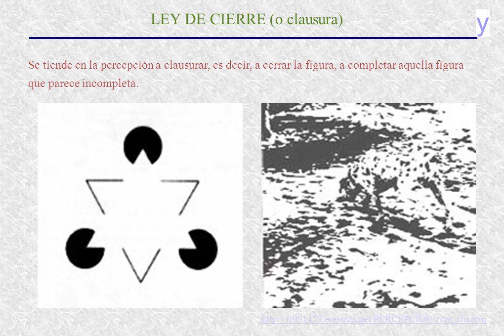 y LEY DE CIERRE (o clausura) Se tiende en la percepción a clausurar, es decir, a cerrar la figura, a completar aquella figura que parece incompleta.