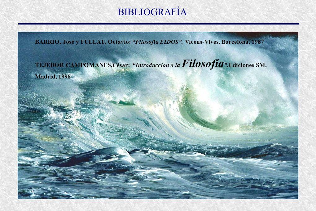 BIBLIOGRAFÍA BARRIO, José y FULLAT, Octavio: Filosofía EIDOS.