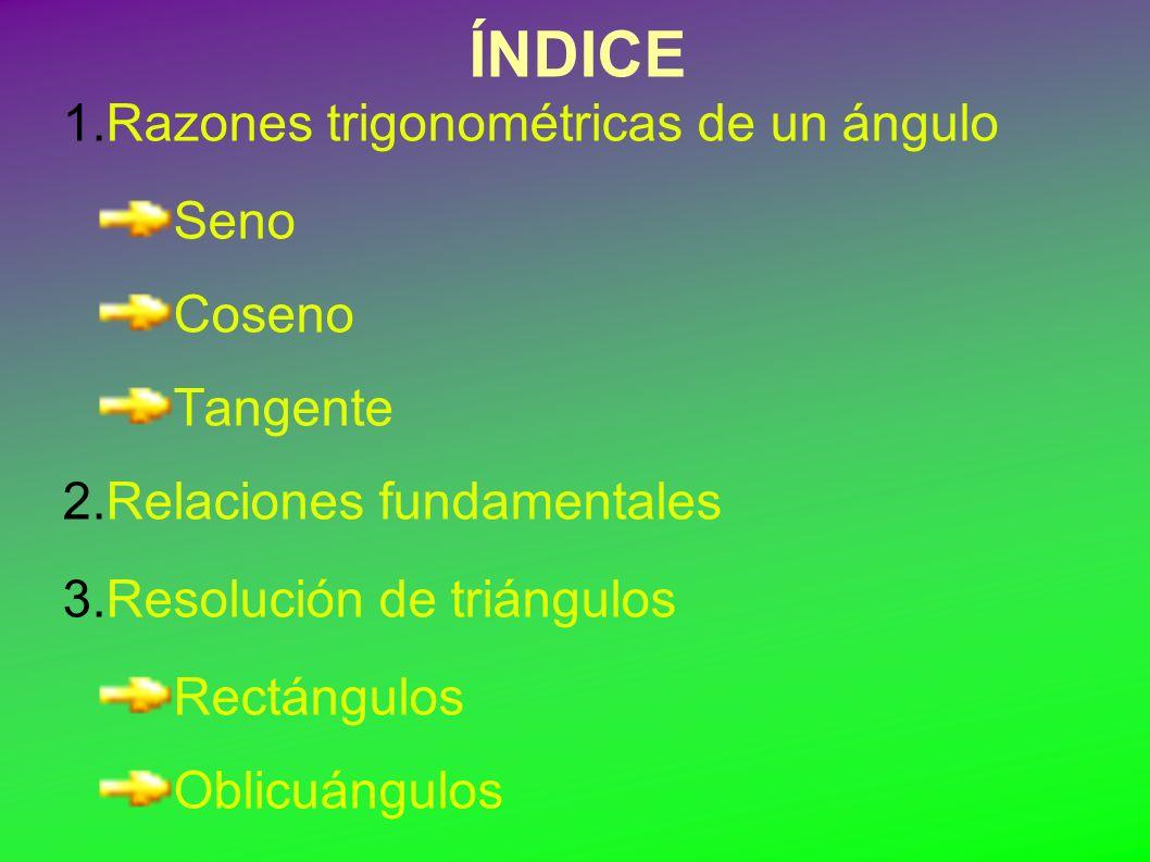 ÍNDICE 1.Razones trigonométricas de un ángulo Seno Coseno Tangente 2.Relaciones fundamentales 3.Resolución de triángulos Rectángulos Oblicuángulos 4.Esquema