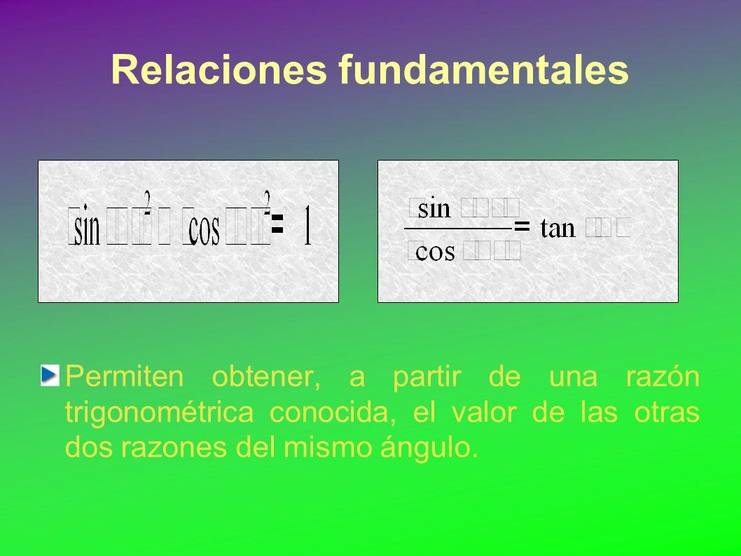 Relaciones fundamentales Permiten obtener, a partir de una razón trigonométrica conocida, el valor de las otras dos razones del mismo ángulo.