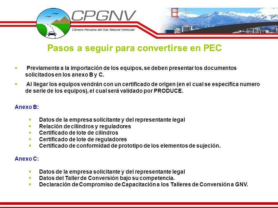 Pasos a seguir para convertirse en PEC Previamente a la importación de los equipos, se deben presentar los documentos solicitados en los anexo B y C.