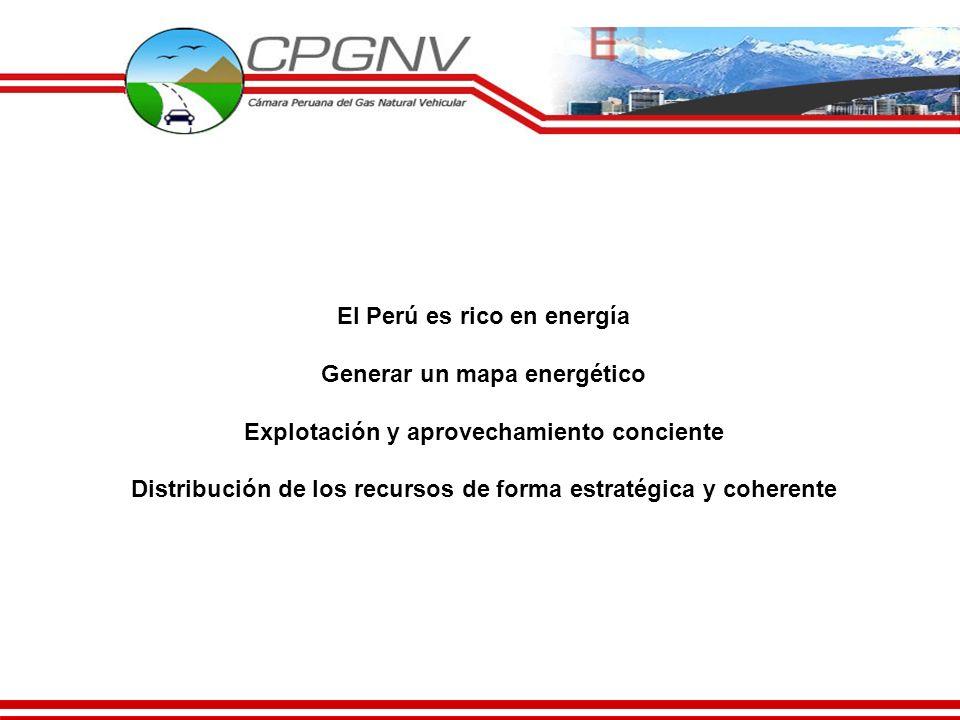 El Perú es rico en energía Generar un mapa energético Explotación y aprovechamiento conciente Distribución de los recursos de forma estratégica y cohe