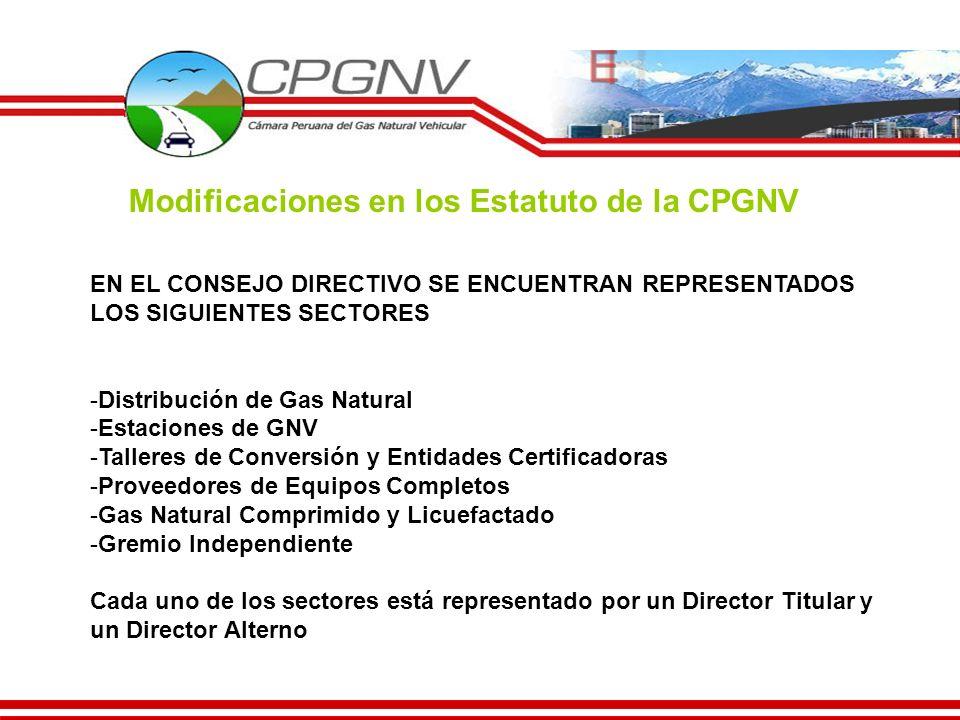 EN EL CONSEJO DIRECTIVO SE ENCUENTRAN REPRESENTADOS LOS SIGUIENTES SECTORES -Distribución de Gas Natural -Estaciones de GNV -Talleres de Conversión y