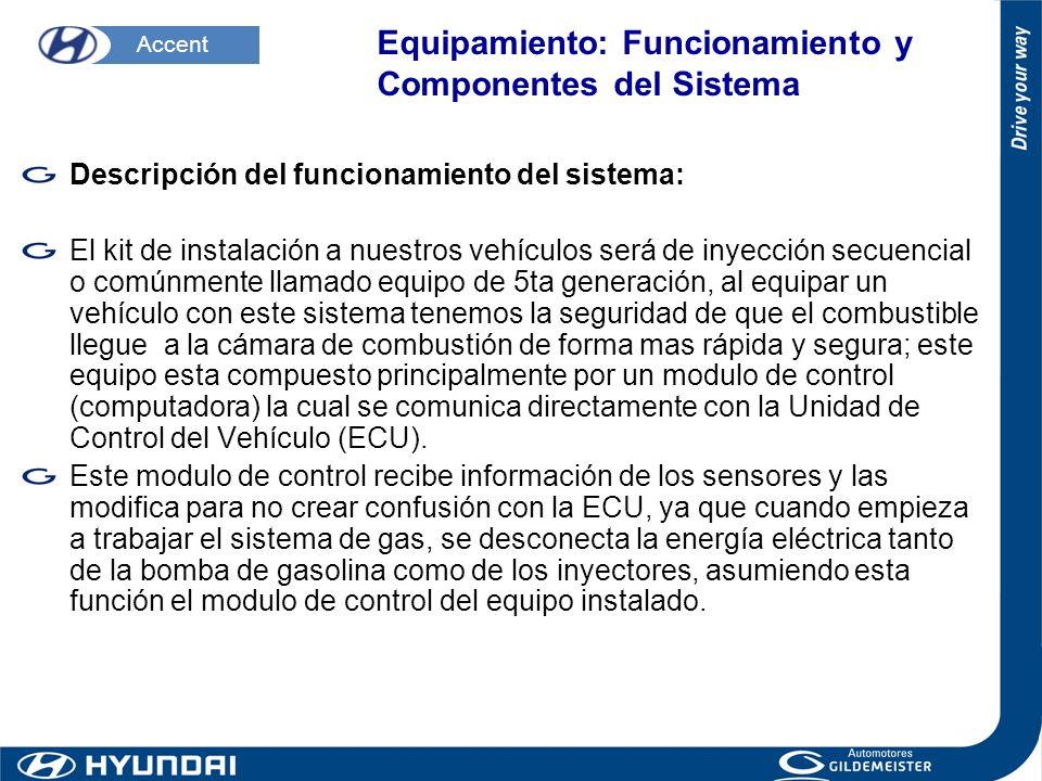 Descripción del funcionamiento del sistema: El kit de instalación a nuestros vehículos será de inyección secuencial o comúnmente llamado equipo de 5ta