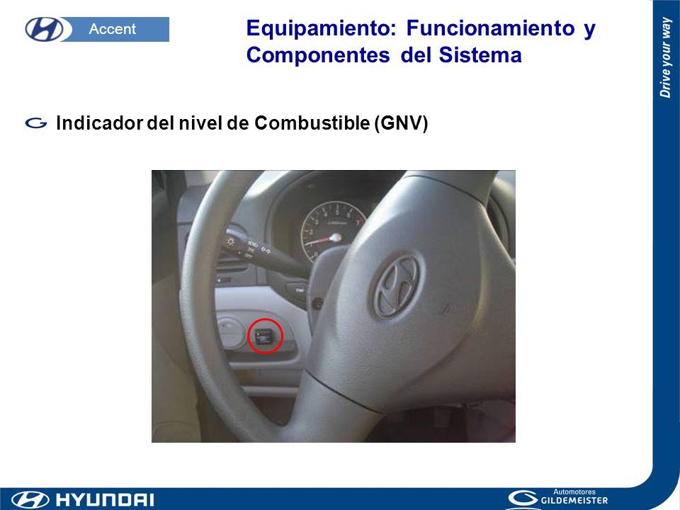 Indicador del nivel de Combustible (GNV) Accent Equipamiento: Funcionamiento y Componentes del Sistema