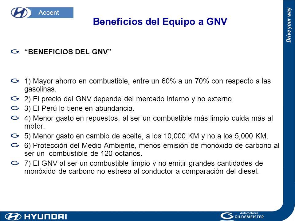 BENEFICIOS DEL GNV 1) Mayor ahorro en combustible, entre un 60% a un 70% con respecto a las gasolinas. 2) El precio del GNV depende del mercado intern