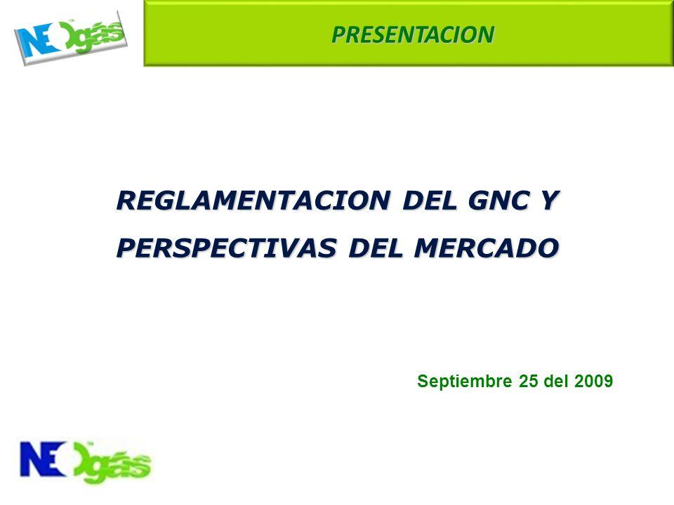 REGLAMENTACION DEL GNC Y PERSPECTIVAS DEL MERCADO Septiembre 25 del 2009 PRESENTACION PRESENTACION