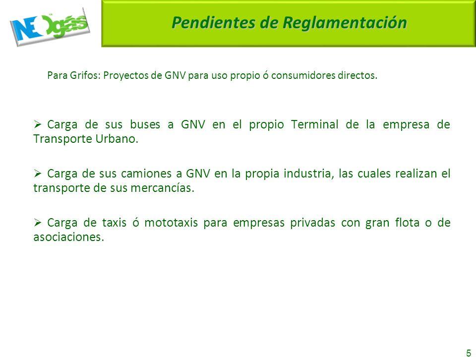 5 Pendientes de Reglamentación Para Grifos: Proyectos de GNV para uso propio ó consumidores directos.