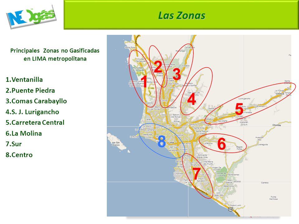 1 2 3 4 5 6 7 8 9 Las Zonas Principales Zonas no Gasificadas en LIMA metropolitana 1.Ventanilla 2.Puente Piedra 3.Comas Carabayllo 4.S.