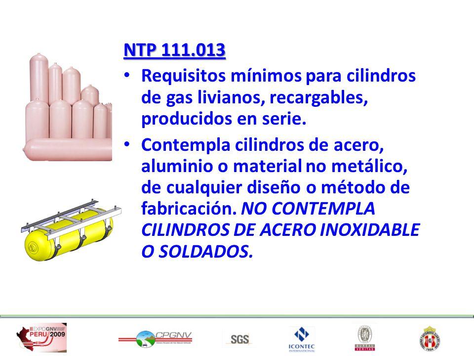NTP 111.013 Requisitos mínimos para cilindros de gas livianos, recargables, producidos en serie. Contempla cilindros de acero, aluminio o material no