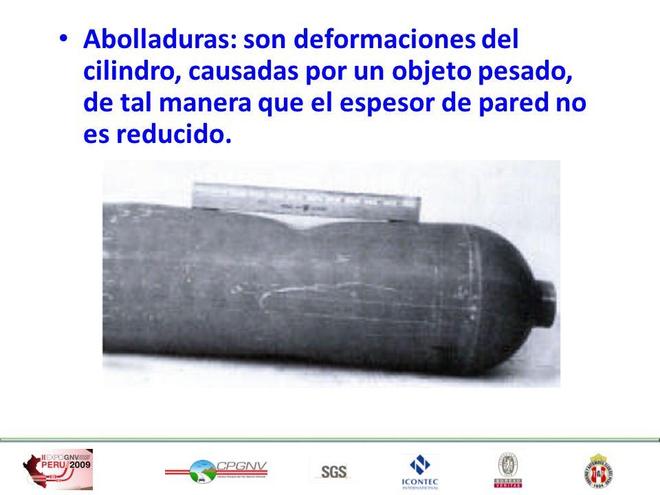 Abolladuras: son deformaciones del cilindro, causadas por un objeto pesado, de tal manera que el espesor de pared no es reducido.