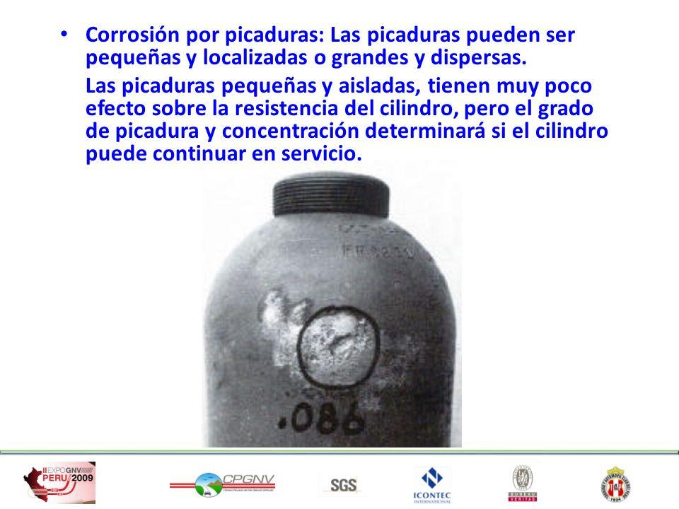 Corrosión por picaduras: Las picaduras pueden ser pequeñas y localizadas o grandes y dispersas. Las picaduras pequeñas y aisladas, tienen muy poco efe