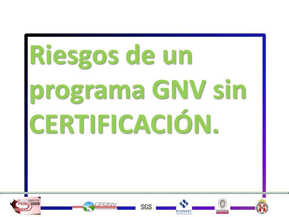 Riesgos de un programa GNV sin CERTIFICACIÓN.