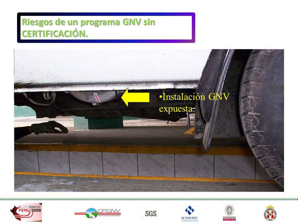 Instalación GNV expuesta. Riesgos de un programa GNV sin CERTIFICACIÓN.