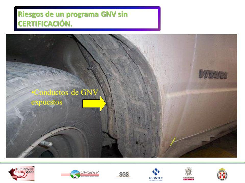 Conductos de GNV expuestos Riesgos de un programa GNV sin CERTIFICACIÓN.