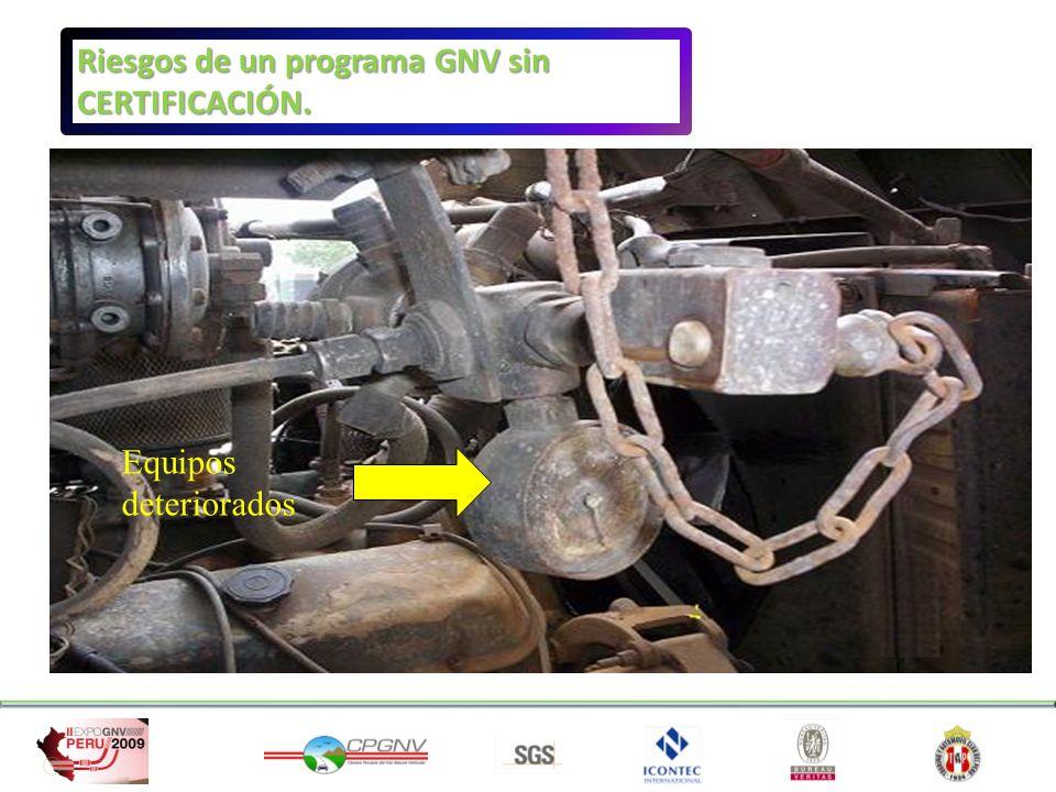 Equipos deteriorados Riesgos de un programa GNV sin CERTIFICACIÓN.