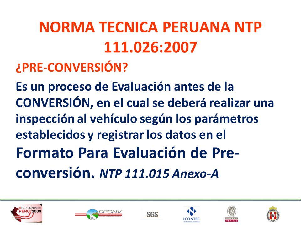 NORMA TECNICA PERUANA NTP 111.013:2004 Gas Natural Seco: Cilindros de alta presión para almacenamiento de gas utilizado como combustible para vehículos automotores.