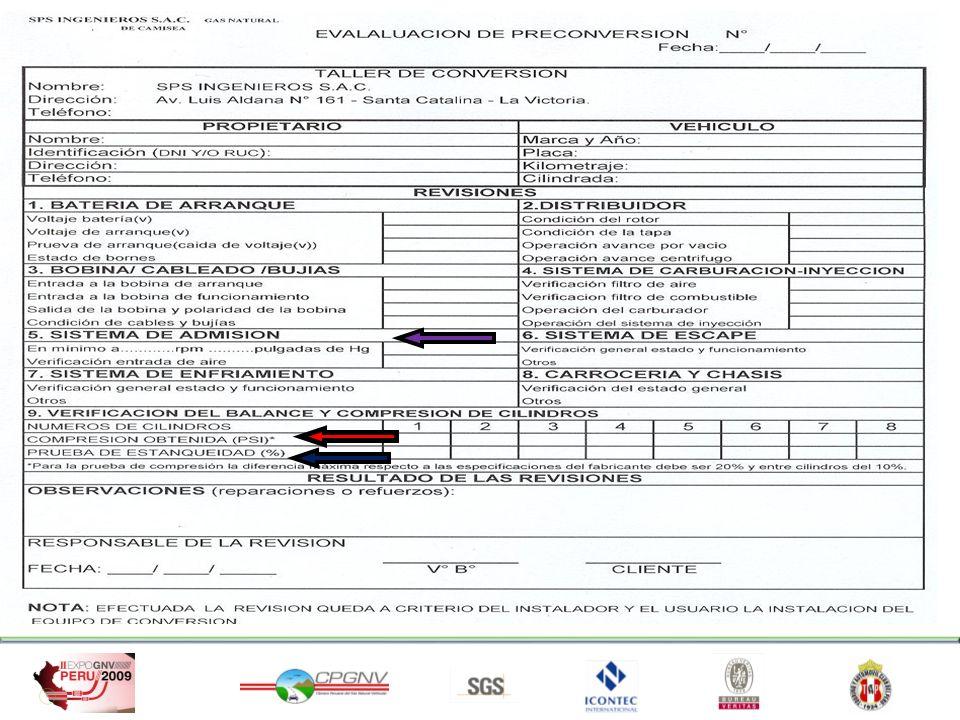 NORMA TECNICA PERUANA NTP 111.026:2007 NOTA: La PRE-CONVERSIÓN es el 50% de una buena Conversión y Post-conversión del vehículo.