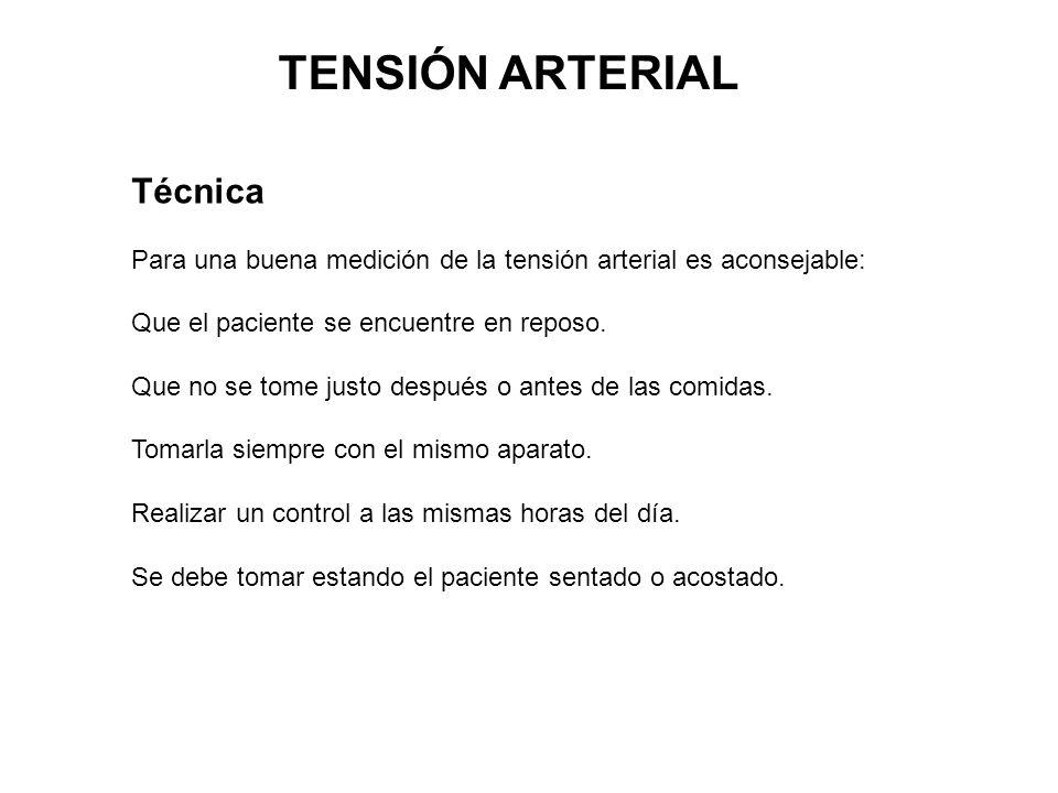 Técnica Para una buena medición de la tensión arterial es aconsejable: Que el paciente se encuentre en reposo. Que no se tome justo después o antes de