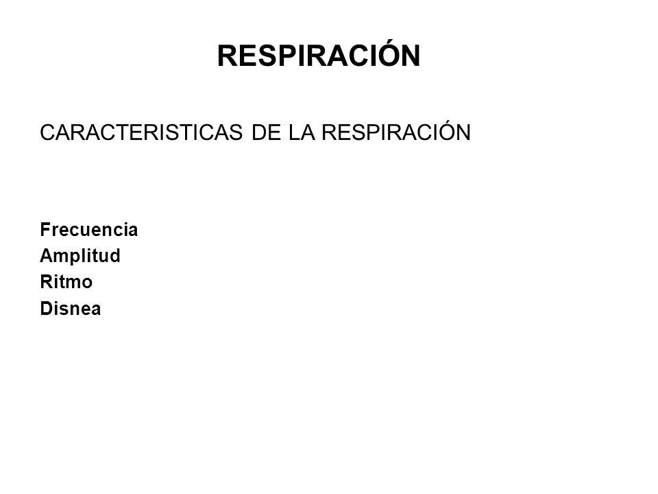 CARACTERISTICAS DE LA RESPIRACIÓN Frecuencia Amplitud Ritmo Disnea RESPIRACIÓN
