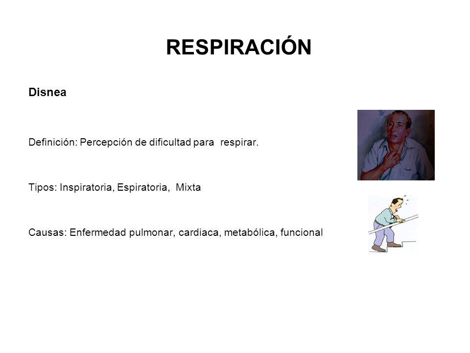 Disnea Definición: Percepción de dificultad para respirar. Tipos: Inspiratoria, Espiratoria, Mixta Causas: Enfermedad pulmonar, cardiaca, metabólica,