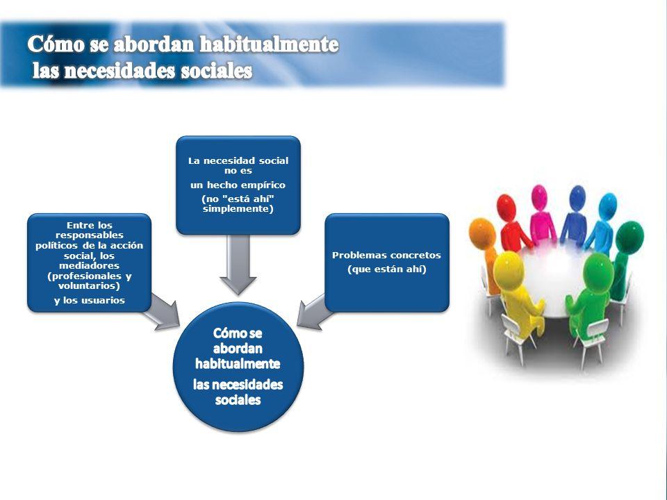 4 Entre los responsables políticos de la acción social, los mediadores (profesionales y voluntarios) y los usuarios La necesidad social no es un hecho