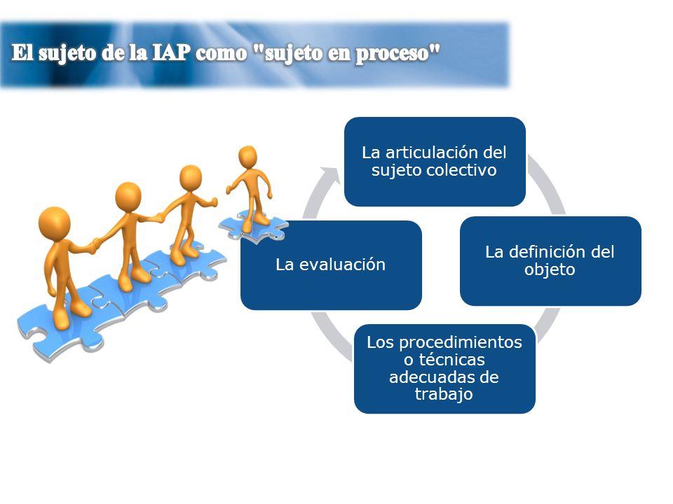 7 La articulación del sujeto colectivo Los procedimientos o técnicas adecuadas de trabajo La definición del objeto La evaluación