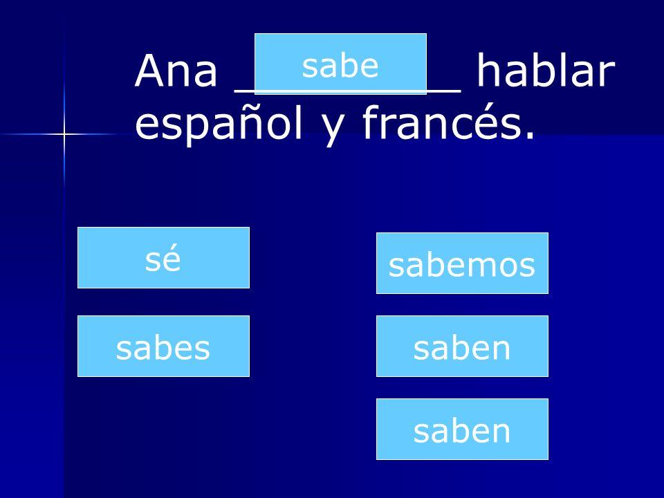 saben sabes sabe sabemos saben sé Nosotros ________ hablar inglés muy bien.