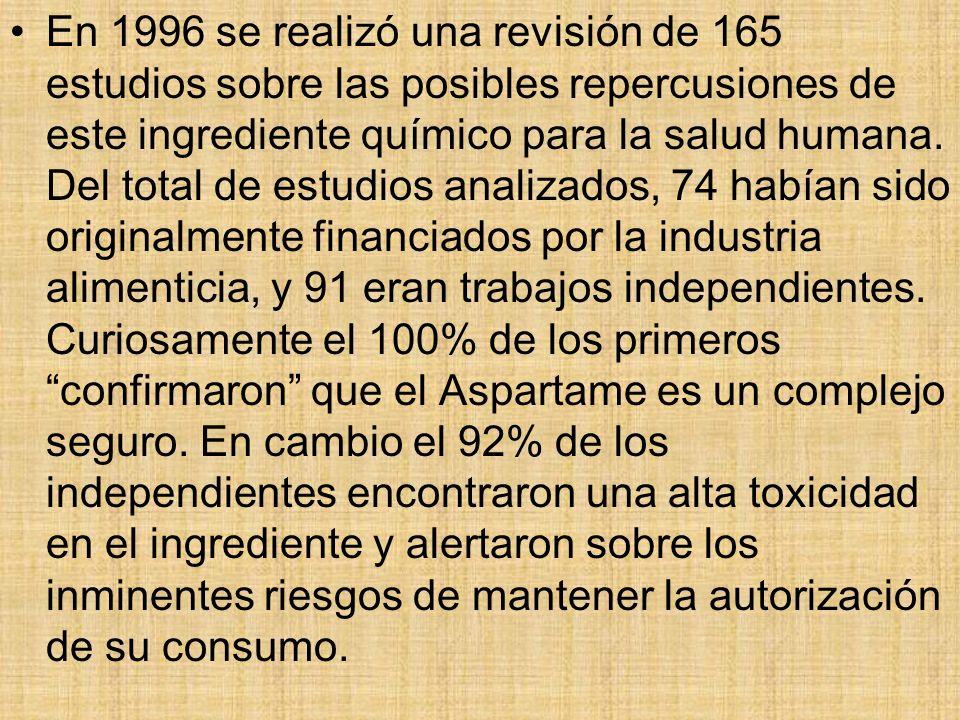 En 1996 se realizó una revisión de 165 estudios sobre las posibles repercusiones de este ingrediente químico para la salud humana. Del total de estudi