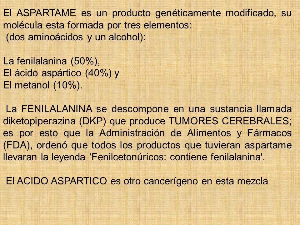 El ASPARTAME es un producto genéticamente modificado, su molécula esta formada por tres elementos: (dos aminoácidos y un alcohol): La fenilalanina (50