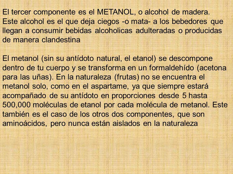 El tercer componente es el METANOL, o alcohol de madera. Este alcohol es el que deja ciegos -o mata- a los bebedores que llegan a consumir bebidas alc