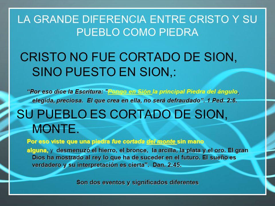 LA GRANDE DIFERENCIA ENTRE CRISTO Y SU PUEBLO COMO PIEDRA CRISTO NO FUE CORTADO DE SION, SINO PUESTO EN SION,: Por eso dice la Escritura: