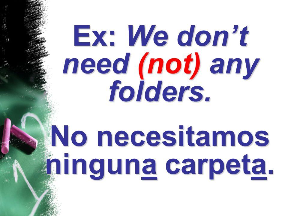 Ex: We dont need (not) any folders. No necesitamos ninguna carpeta.
