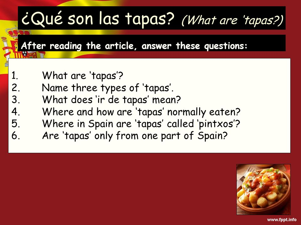 ¿Qué son las tapas. (What are tapas ) 1. What are tapas.