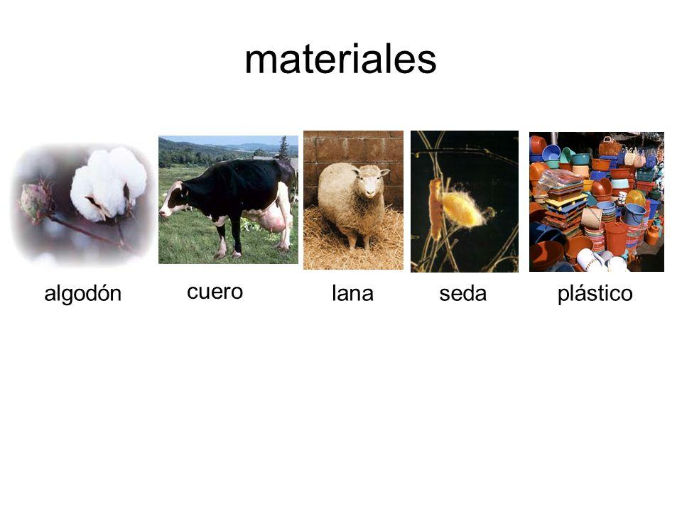 materiales algodón cuero lanasedaplástico