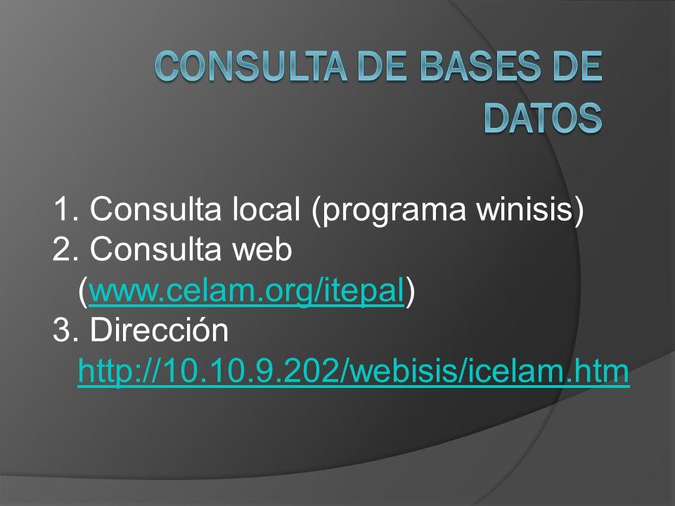 1. Consulta local (programa winisis) 2. Consulta web (www.celam.org/itepal)www.celam.org/itepal 3. Dirección http://10.10.9.202/webisis/icelam.htm htt