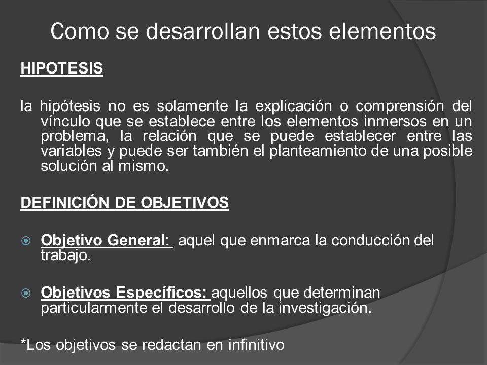Como se desarrollan estos elementos CONCLUSIONES La primera condición es que las conclusiones verifiquen la hipótesis.