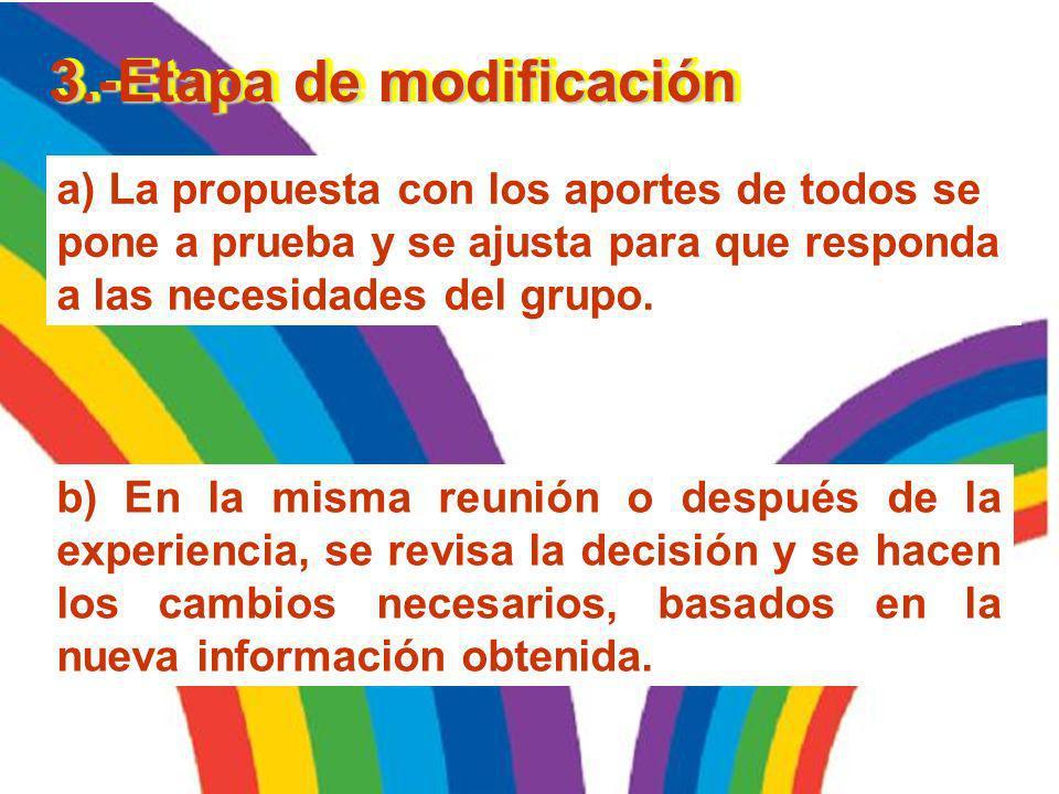 a) El moderador/a ayudará al grupo a buscar aspectos comunes, resaltándolos y resumiéndolos para el grupo. 2.- Etapa de propuestas b) La propuesta, fr