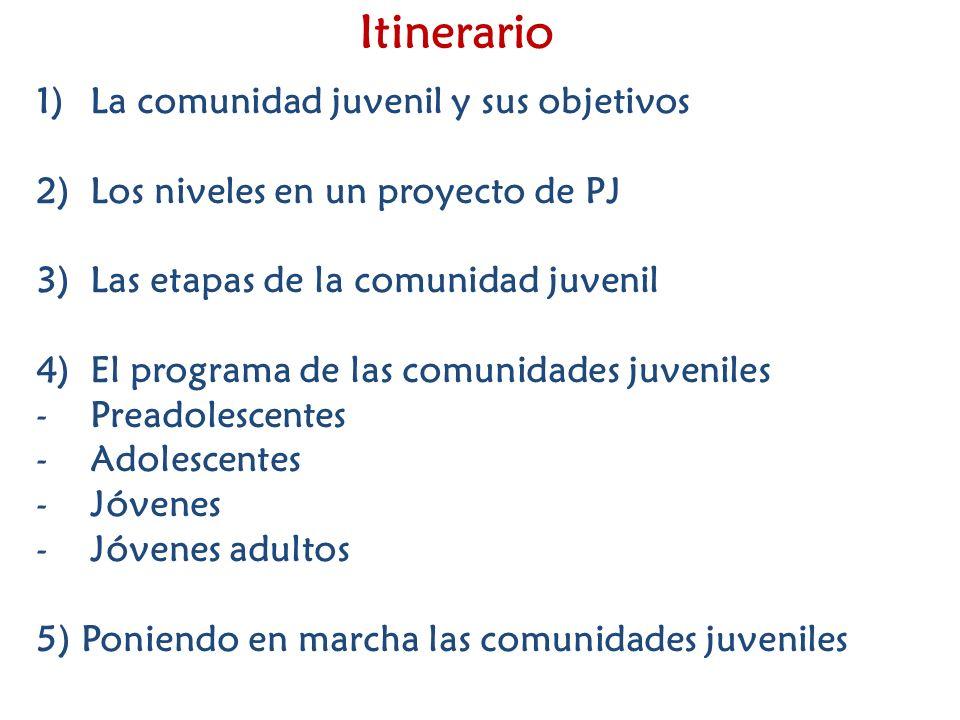 Itinerario 1)La comunidad juvenil y sus objetivos 2)Los niveles en un proyecto de PJ 3)Las etapas de la comunidad juvenil 4)El programa de las comunid
