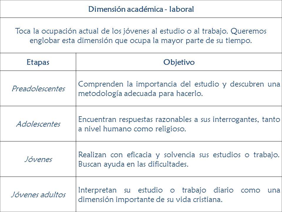 Dimensión académica - laboral Toca la ocupación actual de los jóvenes al estudio o al trabajo. Queremos englobar esta dimensión que ocupa la mayor par