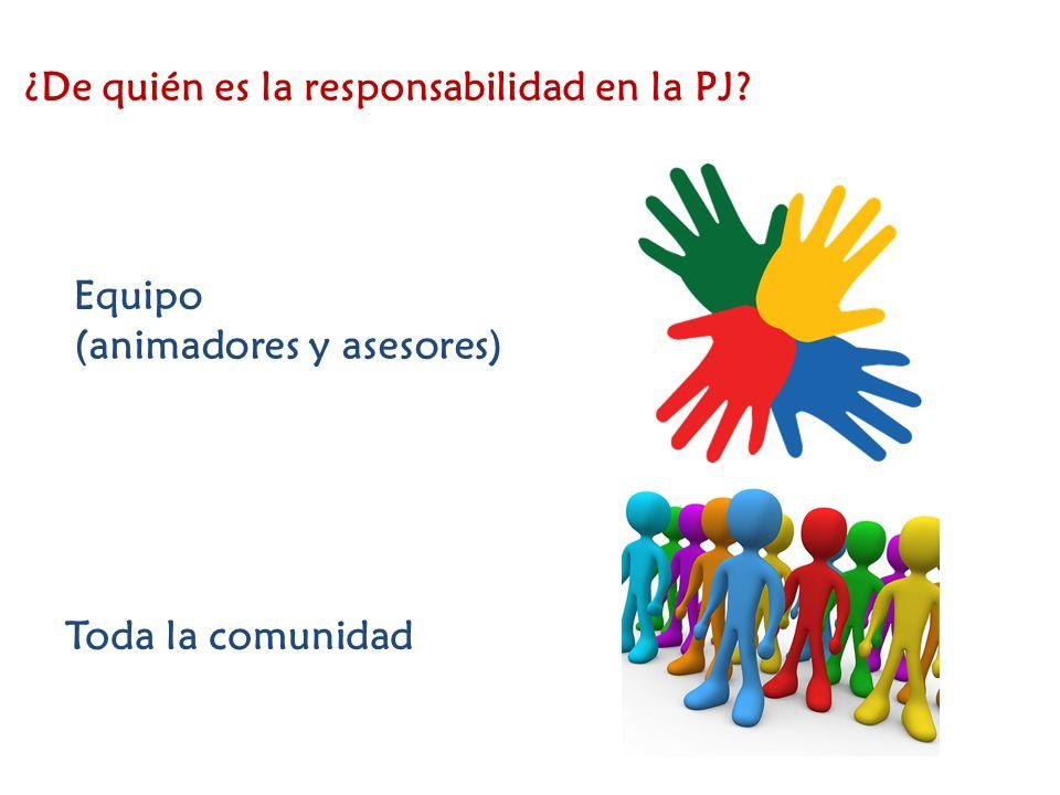 ¿De quién es la responsabilidad en la PJ? Equipo (animadores y asesores) Toda la comunidad