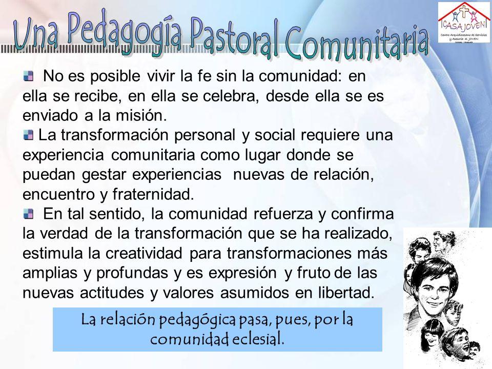 La relación pedagógica pasa, pues, por la comunidad eclesial. No es posible vivir la fe sin la comunidad: en ella se recibe, en ella se celebra, desde