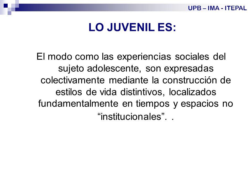LO JUVENIL ES: El modo como las experiencias sociales del sujeto adolescente, son expresadas colectivamente mediante la construcción de estilos de vida distintivos, localizados fundamentalmente en tiempos y espacios no institucionales..