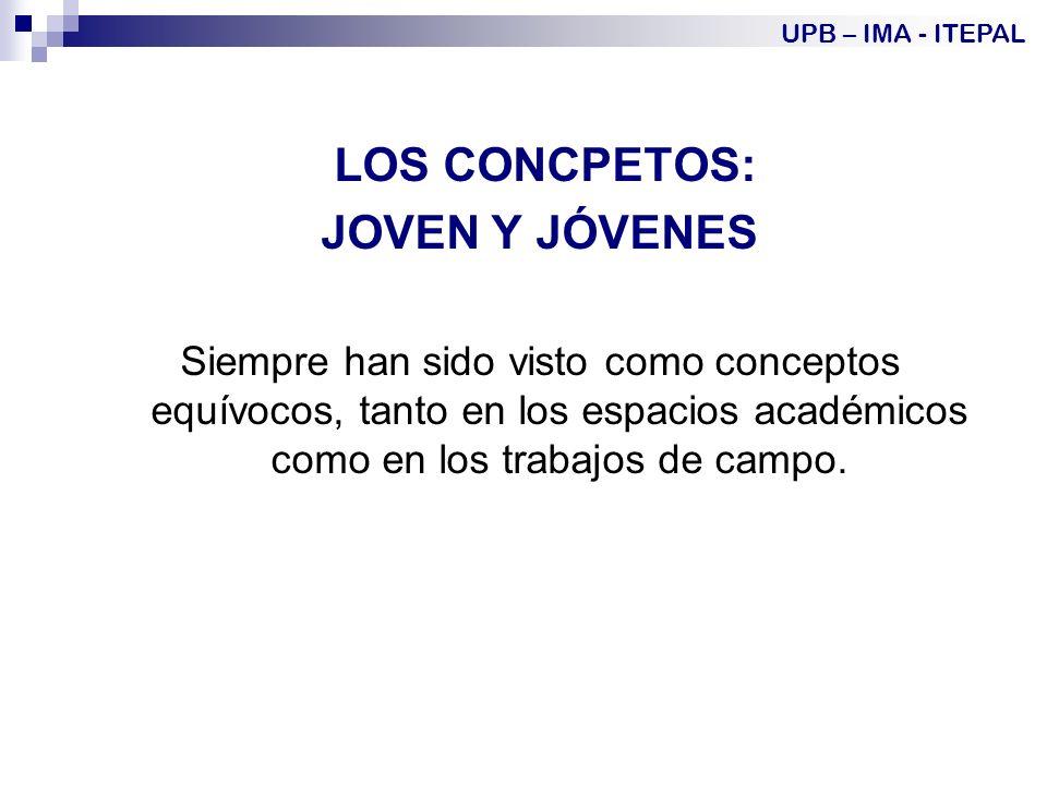 LOS CONCPETOS: JOVEN Y JÓVENES Siempre han sido visto como conceptos equívocos, tanto en los espacios académicos como en los trabajos de campo.